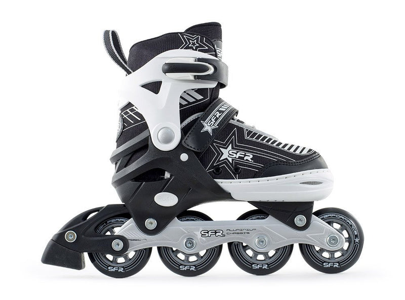 SFR Pulsar Black White Kids Adjustable Inline Skates