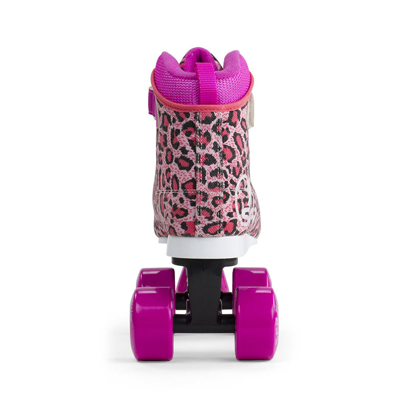 SFR Vision Canvas Quad Roller Skates - Leopard - Rear View