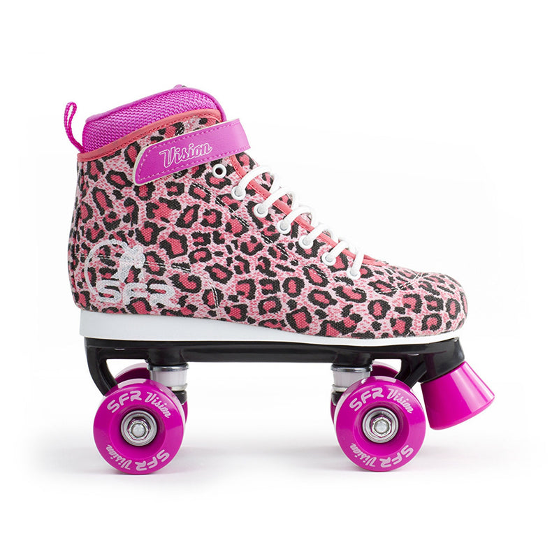 SFR Vision Canvas Quad Roller Skates - Leopard - Side View