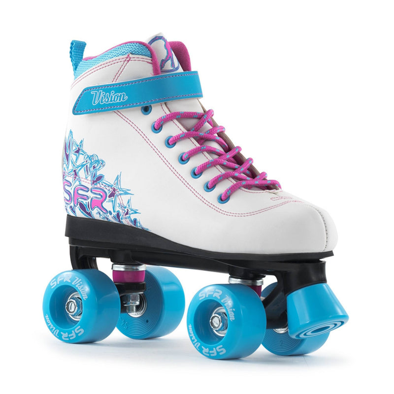 White Blue Kids Roller Skates - Main View