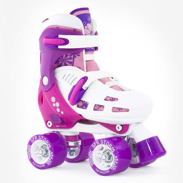 SFR Racing Storm II White Pink Girls Adjustable Roller Skates - Main View