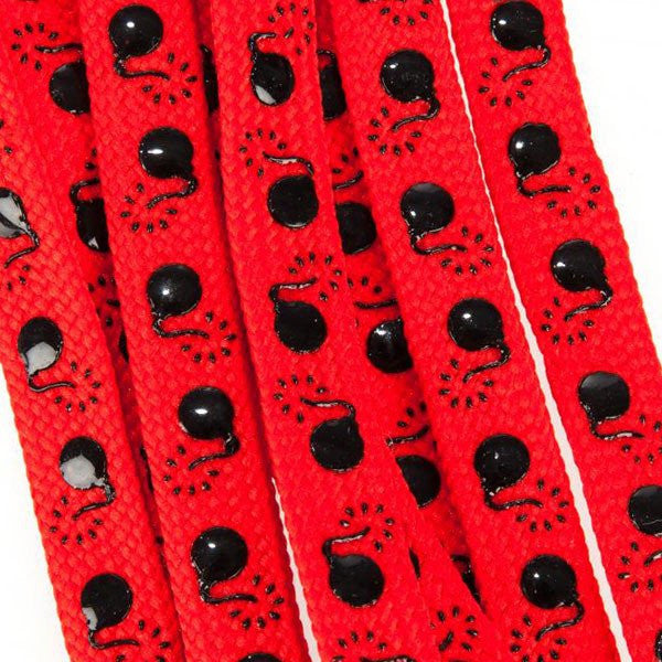 Suregrip Slip-Knot Red/Black Bombs 180cm Quad Roller Skate Laces - Main View