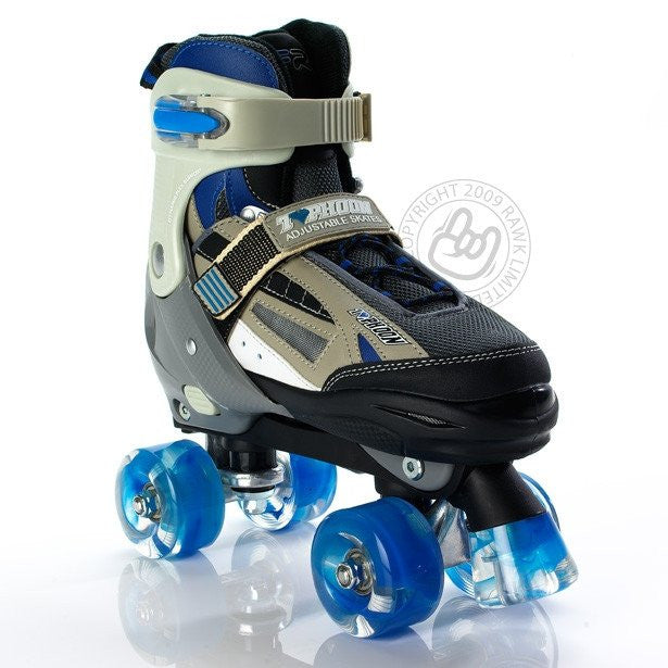 SFR Typhoon Blue/Black Boys Adjustable Quad Roller Skates - Front View