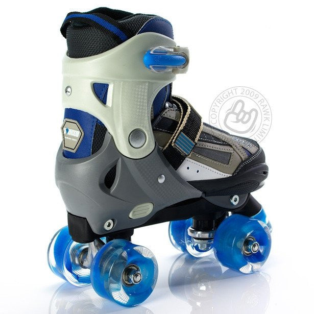 SFR Typhoon Blue/Black Boys Adjustable Quad Roller Skates - Rear View