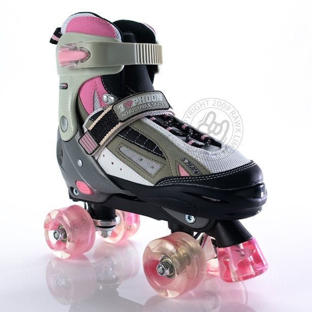 SFR Typhoon Pink/White Girls Adjustable Quad Roller Skates - Front View