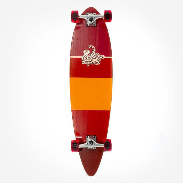 Voltage Stubby Red Pintail Complete Longboard - Main View