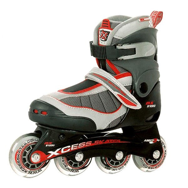 Xcess MXS1000 Black Red Adjustable Inline Skates - Main View