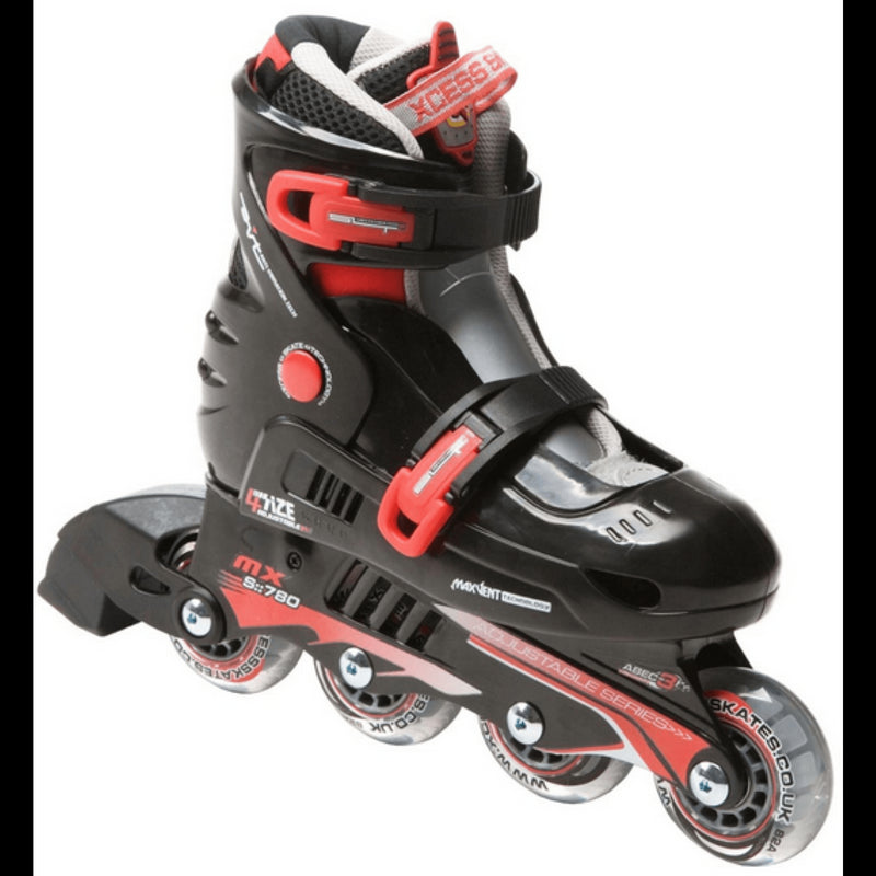 Xcess MX S780 Black Red Adjustable Inline Skates - Main View