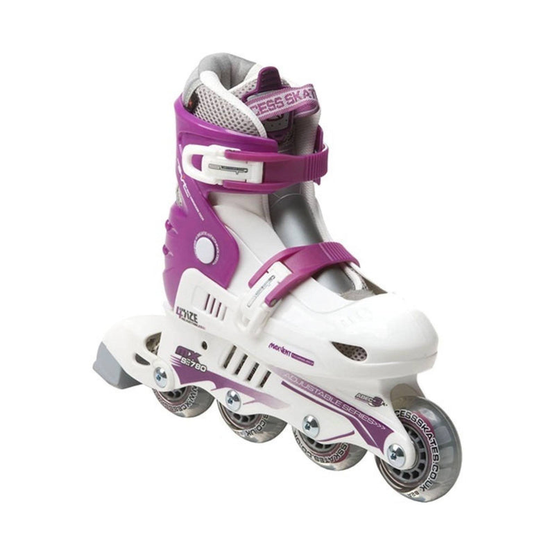 Xcess MX S780 White/Purple Adjustable Inline Skates - Main View
