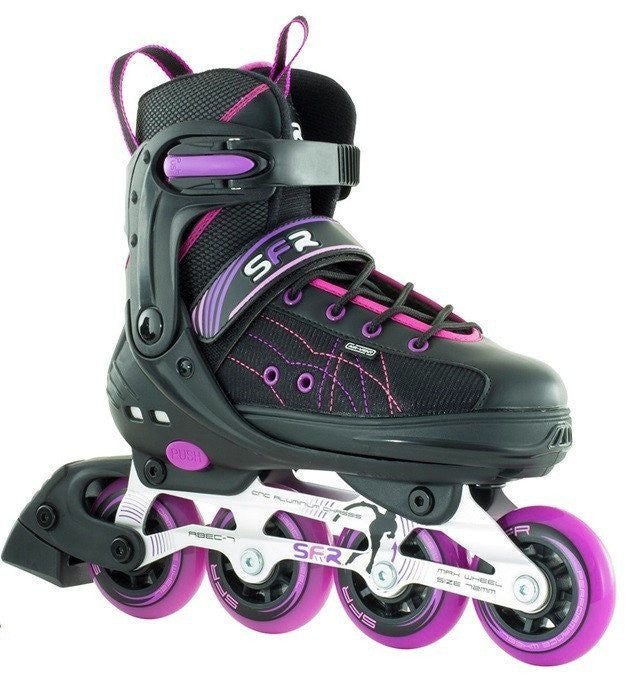 SFR RX-XT Kids Black Pink Adjustable Inline Skates - Main View