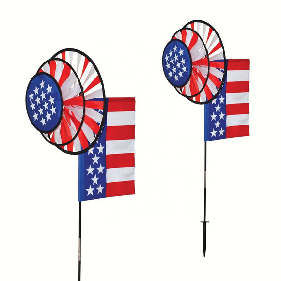 USA Dual Wheel Spinner with Flag