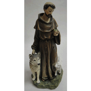 "St. Francis Statue With Wolf Bird & Lamb 9.75"" H"