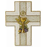 First Communion Wall Cross With Gold Leafed Chalice