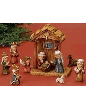 "Nativity 11 Piece 8"" Stable Kid Pagent & Standing Lamb And Donkey"