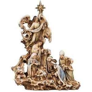 Carved Branches Polystone Nativity Scene Christmas Statue