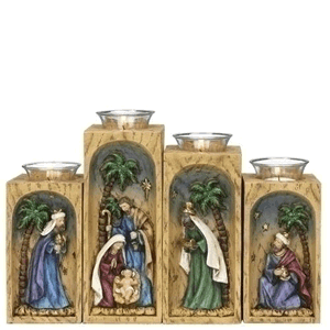 Roman Nativity Scene 4-Piece Advent Candleholder Set