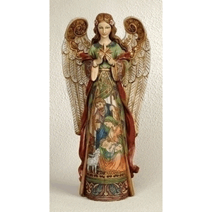 Angel Statue with Painted Nativity Scene