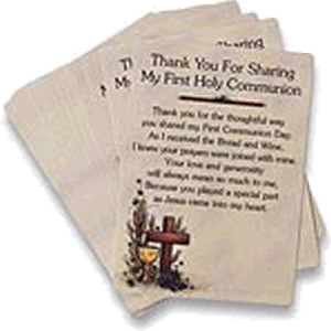 Thank You First Communion Card