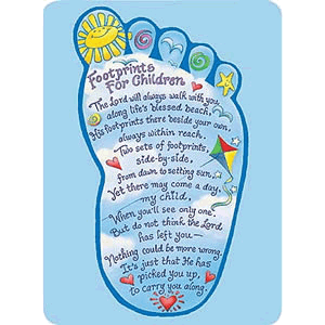 Footprints for Children Prayer Card