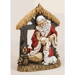 Kneeling Santa in Manger