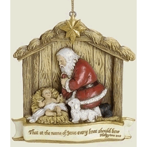 Kneeling Santa in Manger Ornament