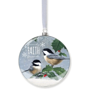 Chickadees Snow Ornament