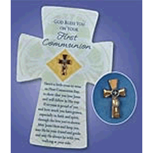 First Communion Cross Pin on Card