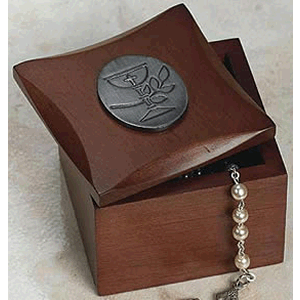 First Communion Wood Rosary Box