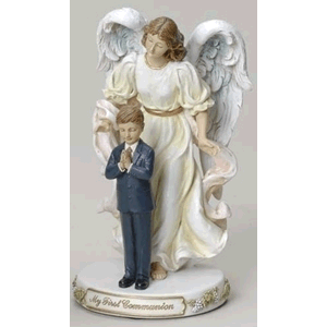 My First Communion Angel with Boy Statue