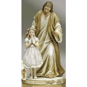 My First Communion Jesus with Girl Statue