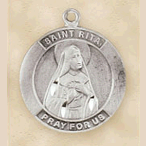 Pewter St. Rita Medal With Chain