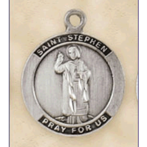 Pewter St. Stephen Medal With Chain
