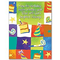 Hope This Birthday Begins a Happy Year Filled With God's Brightest Blessings Birthday Greeting Card