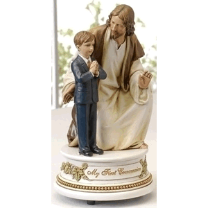 My First Communion Jesus With Boy Musical Statue