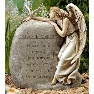 In Memory Garden Stone with Angel