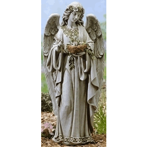 Angel Holding Bird Nest Garden Statue