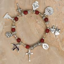 Holy Spirit Imitation Garnet Stretch Bracelet with Seven Holy Spirit Medals