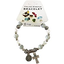 First Communion Italian Stretch Charm Bracelet With Communion Cross and Charm
