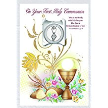 On Your First Holy Communion Greeting Card with Removable Token made in Italy