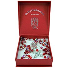 Red Confirmation Rosary with Holy Spirit Center