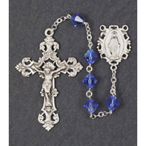 8mm Silver Swarovski Crystal Rondelle Sapphire Rosary