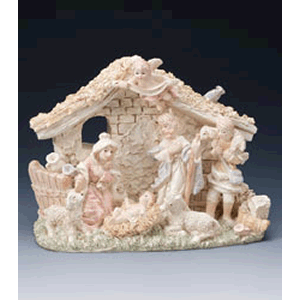 Painted Ivory Resin Nativity