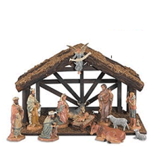 "Nativity 12 Piece DiGiovanni 6"" Plastic Pieces Includes Stable"