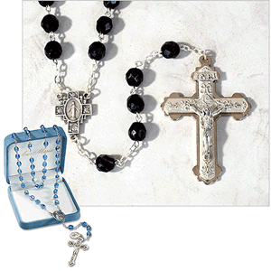 8mm Black Crystal Men's Rosary Made In Italy