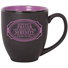 Serenity Prayer Bistro Mug Black and Purple