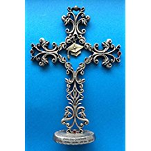 Bless This Graduate Standing Cross with Ruby Crystals