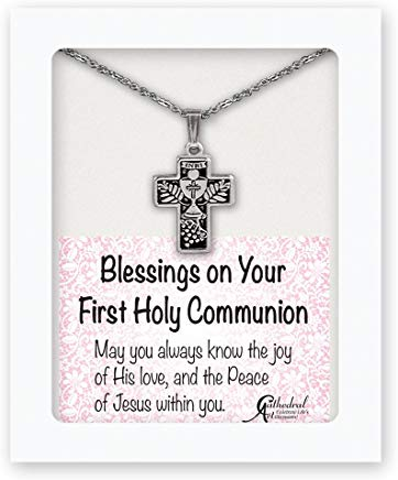Silvertone Communion Cross Necklace