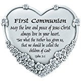 First Communion Floral Heart Table Top Plaque
