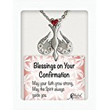 Confirmation Dove Pendant Necklace With Crystals and Jeweled Red Heart