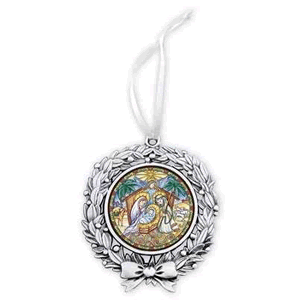 Metal Nativity Christmas ornament, wreath design,  with colored nativity scene